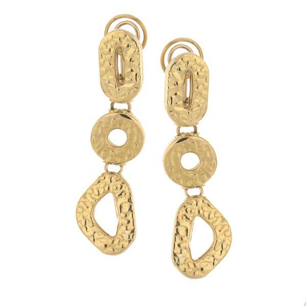 Drop earrings in yellow gold